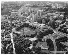 Aerial view of Forbes Field and Oakland, ca. 1968-1970. Forbes Field was home to the Pittsburgh Pirates from 1909 to 1970. The University of Pittsburgh, who purchased Forbes Field in 1958 for $3 million, originally allowed the Pirates use of the field for another 5 years; however, the team continued to play there until the opening of Three Rivers Stadium in 1970. Forbes Field was finally demolished July 28, 1971, and part of the campus of the University of Pittsburgh now stands in its place.