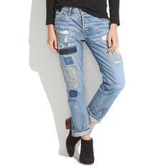 Madewell - NSF® Beck Patched Boyfriend Jeans $488. There you go, 500 bucks worth of denim. Hmm. NSF = Non Sufficient Funds