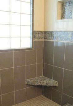 Glass Mosaic Tile Shower Photo Gallery: Mosaic Tile Shower: Glass Tile on Seat and Border