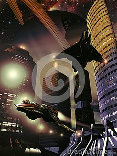 Virtual presentation of a futuristic city on a satellite of Saturn, with skyscrapers and spaceships flying close to them.
