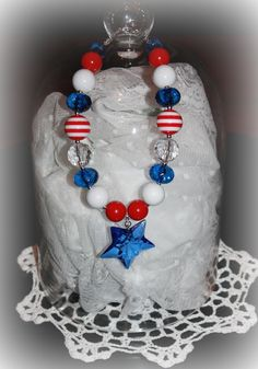 USA is an adorable Chunky Bubblegum style Necklace by KChicDesigns, $21.00