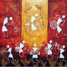Warli village pepupstreet.com, #artstory, #handmade, #warli, #artwork, #walldecor