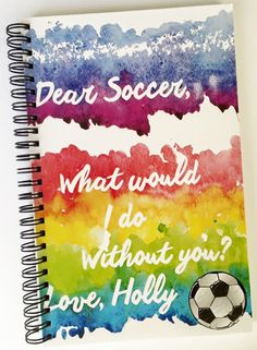 Personalized Notebook for a Soccer Player and soccer lover. Customized Notebook for Soccer by TIPgifts on Etsy
