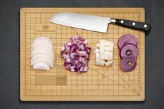 The Obsessive Chef Cutting Board Do you obsess over the accuracy of your juliennes and batonnets? Or perhaps you're a culinary student whose chef instructor doesn't tolerate uneven brunoises? Then, The Obsessive Chef Cutting Board is here to help. Modern Cutting Boards, Bamboo Cutting Board, Chopping Boards, Wood Cutting, Kitchen Utensils, Kitchen Tools, Kitchen Gadgets, Kitchen Items, Kitchen Stuff
