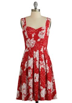 Cherished Choice Dress. You love delving into your dynamic wardrobe and selecting swoon-worthy garments such as this feminine red party dress, available for purchase this May! #red #modcloth