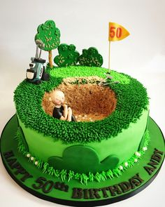 Golf party ideas to help turn your picnic, party, or maybe your even though celebration in a golf-lovers delight. If you and your friends love golf, and then any excuse is a great excuse for any good Golf Themed Cakes, Golf Birthday Cakes, Golf Cakes, Guy Birthday, Dad Cake, 50th Cake, Fathers Day Cake, Fantasy Cake, Sport Cakes