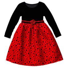 Toddler Multi Dot Flock Long Sleeve Dress - Youngland Dresses For Toddler & Girls - Events