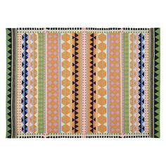 VIDA Large multi-coloured wool flat weave rug 170 x 240cm