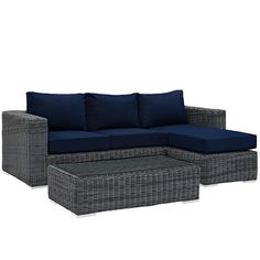 Modway Furniture Modern Summon 3 Piece Outdoor Patio Sectional Set in Sunbrella®