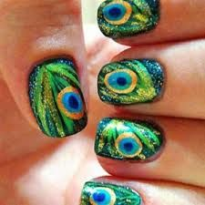 peacock nails - feature nail perhaps?