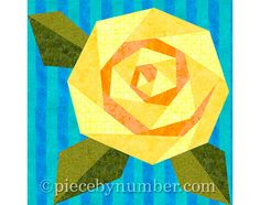 Rosie's Rose quilt block rose quilt by PieceByNumberQuilts on Etsy