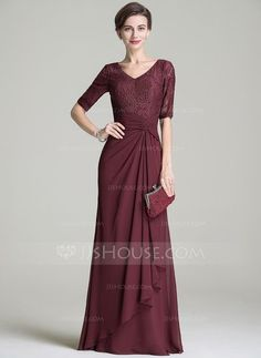 A-Line/Princess V-neck Floor-Length Chiffon Lace Mother of the Bride Dress With Ruffle Cascading Ruffles (008072696)