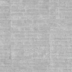 Intarsia Textured Vinyl Wallcovering A textured vinyl wallcovering named after a type of inlay silimar to marquetry, slim rectangles form subtle vertical louvre stripes, in metallic pewter.