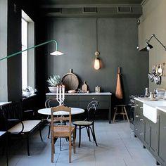 Dark Kitchen In Artilleriet Studio In Gothenburg - Gravity Home Shop Interior Design, Home Interior, Kitchen Interior, Kitchen Design, Design Shop, Kitchen Ideas, Black Kitchens, Home Kitchens, Dark Green Kitchen