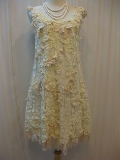 Custom Made Lovely HandEmbroidered Ivory Lace Dress by Madabby, $178.00