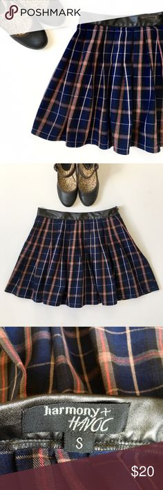 """Harmony & Havoc Pleated School Girl Mini Skirt❤️ Cotton, light wool feel. No lining. Navy, Red Tan. Pleather waistband. pleated at waist. Length: 14.25"""". Waist: 13.25"""". Side zipper, no buttons or hooks. Perfect with tights and boots or heeled Mary Jane's.❤️ Harmony & Havoc Skirts Mini"""