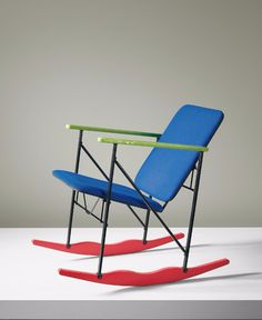 Enameled Metal and Lacquered Wood Rocking Chair for Avarte Oy, Sofa Chair, Armchair, Cool Furniture, Furniture Design, Memphis Design, Weird Shapes, Postmodernism, Cool Chairs, Rocking Chair