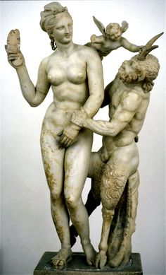 Pictured above is Aphrodite and Pan from Delos. This is a Hellenistic type of art. This piece was found on the island of Delos. This statue shows the hilarious interplay of Love and Lust. As Pan tries to embrace Aphrodite while Eros(Cupid) watches, Aphrodite fends him off with her sandal.  Aphrodite is the famous Goddess of Love, when referring to love as attraction, seduction and desire.Pan is the famous half-goat God of ancient Arcadia.