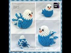 Rainbow Loom 3D Loomigurumi/Amigurumi Bird Stuffed Toy - crochet hook only (loomless)