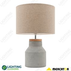 Moby Timber And Concrete With Linen Shade Industrial Table Lamp - Table, Desk, Floor and Clamp Lamps - Lighting - Lighting Illusions Online