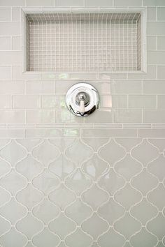 BUT subway on bottom, arabesque on top.  Bath arabesque tile Design Ideas, Pictures, Remodel and Decor