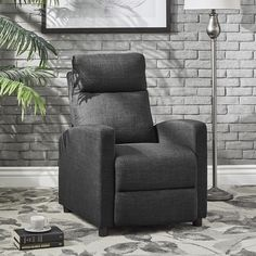 Saipan Modern Fabric and Leather Recliner Club Chair iNSPIRE Q Modern