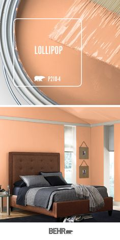 Add a subtle pop of color to the walls of your home with a new coat of BEHR MARQUEE® Interior Paint & Primer in One in Lollipop. With just a hint of orange, this hue adds warmth to this master bedroom. Click below for full color details to learn more. Behr Paint Colors, Bedroom Paint Colors, Paint Colors For Home, House Colors, Paint Color Palettes, Paint Color Visualizer, Orange Paint Colors, Paint Color Chart, Purple Rooms