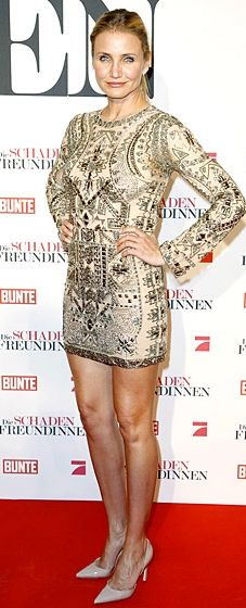 Legs for days! Cameron Diaz shows off her gams in an Emilio Pucci mini dress at the Munich premiere of 'The Other Woman'