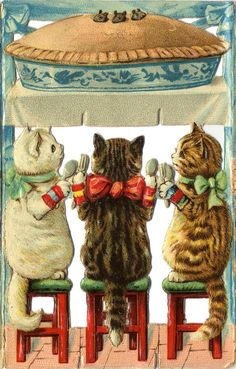 """Vintage print of """"the three little kittens"""". Art Vintage, Vintage Cards, Vintage Postcards, Little Kittens, Cats And Kittens, Foster Kittens, Ragdoll Kittens, Funny Kittens, Bengal Cats"""