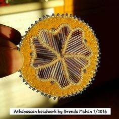 Lapel pin by Brenda Mahan, 1/2016, moosehide and porcupine quills