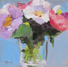 New abstract realist painting titled' Peony Bouquet' by LindaHunt, $100.00