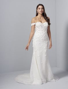 Style 92009 Flora Lucia by Allison Webb bridal gown - Ivory lace fit to flare gown. Sheer strapless sweetheart bodice with off-the- shoulder straps and cascading floral beaded lace appliques over sequined net skirt.In stores early Long Wedding Dresses, Bridesmaid Dresses, Formal Dresses, Bridal Gown Styles, Bridal Gowns, Flora Bridal, Beaded Lace, Bridal Boutique, Lace Applique