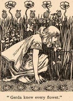 Helen Stratton, illustrator. Gerda knew every flower. From: Fairy tales of Hans Andersen. 1908.