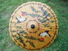 Vintage Japanese Crane Ming Tree Umbrella