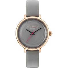 Ted Baker TE10031534 Women's Isla Leather Strap Watch (2 370 UAH) ❤ liked on Polyvore featuring jewelry, watches, grey jewelry, ted baker, leather-strap watches, polish jewelry and grey watches