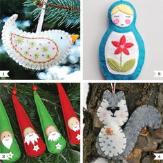 I've got the itch to sew up some little ornaments for my tree and found some really fantastic tutorials for inspiration. These aren't just any felt Christmas ornaments. These are ornaments with character! 1. Birdie ornament tutorial via A Feathered Nest 2. Matryoshka doll ornament ...