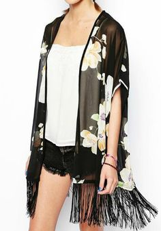Black Floral Short Sleeve Kimono