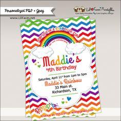 Rainbow Birthday Party Printable Invitation