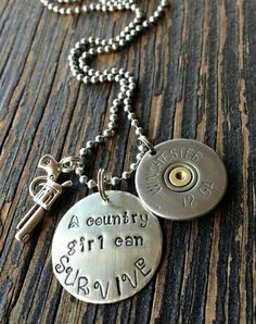 Hand stamped A country girl can survive by Beyoutifulimperfect Country Girl Style, Cute N Country, Country Fashion, Country Outfits, Country Girls, My Style, Stamped Jewelry, Diy Jewelry, Jewelery