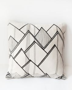 14x14 Cool Mountains / Original Hand Drawn Pillow Cover. $30.00, via Etsy.