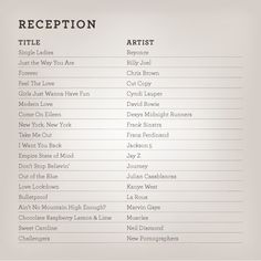wedding reception songs playlist