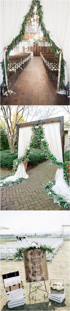 chic greenery wedding ceremony decoration ideas