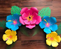 Paper Flowers -PDF Petal 101 Paper Flower Template- Trace and Cut Files 2 Component Centers included (Not for Cutting Machines)