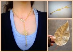 Boho romantic filigree leaf necklace  boho jewelry by Arielior
