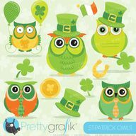 ... Patrick's day Owls clipart set that includes super cute owls in there festive attire including a hat, tie, shamrocks and ...