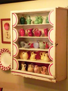 """This is adorable! """"Cheryl's collection of Shawnee Miniatures in an absolutely charming little cabinet. This photo started me on my collection. Miniature Rooms, Miniature Kitchen, Miniature Furniture, Mini Kitchen, Vintage Kitchen, Vintage Cabinet, Kitchen Cupboard, Kitsch, Shawnee Pottery"""