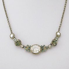 Crystal Pendant Necklace. Sorrelli Pewter Collection.  Popular for bridesmaids or everyday.
