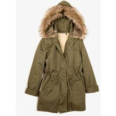 Faux Fur Trim Military Jacket (195 BRL) ❤ liked on Polyvore featuring outerwear, jackets, forever 21, brown cotton jacket, military jacket, drawstring jacket and brown jacket