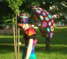 Crochet Umbrella - Granny Square Parasol And Embellished Rainbow Crochet Top | Flickr - Photo Sharing!
