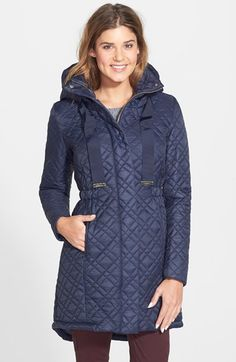 T Tahari Long Hooded Quilted Anorak available at #Nordstrom